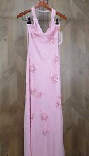 Beaded Evening Gown Long Dress Size M 8 Cassandra Stone Vivace Baby Pink Halter