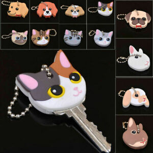 Unisex Cute Puppy Pug Cat Rabbit Key Cover Cap Keychain Silicone Key Ring Lots