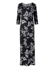 Ladies Floral Print Jersey Maxi Dress - Black/White - PLUS SIZES - L50 *QUALITY*