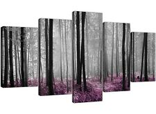 Extra Large Plum Forest Trees Canvas Prints Five Panel  Black White