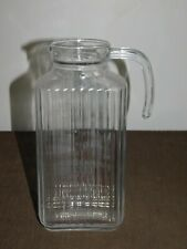 """New listing Vintage Kitchen Old Refrigerator 10"""" High Arc France Glass Water Pitcher"""