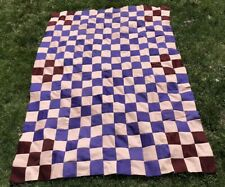 "VTG Quilt TOP Handmade Nine Patch Peach Purple Polyester 56"" x 76"" 4 Corners"