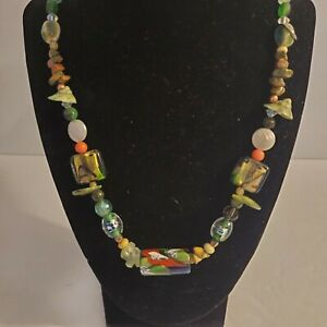 Vtg Multi-colored Hand Painted Murano Glass & Beaded Necklace