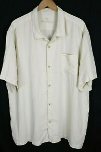Tommy Bahama Mens Sz 3XL Cream White Island Zone Button Up Silk Camp SS Shirt