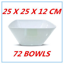 72 X LARGE GLOSSY WHITE MELAMINE SQUARE BOWLS BOWL PARTY FUNCTION EVENT FD