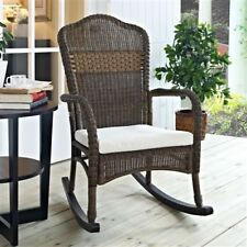 Marvelous Indoor/Outdoor Patio Porch Mocha Wicker Rocking Chair With Beige Cushion