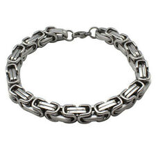 8MM Men's Chain Silver Gold Tone Byzantine Link Stainless Steel Bracelet DIY