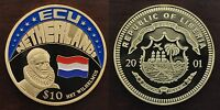 LIBERIA – VERY RARE COLORED 10$ UNC COIN 2001 YEAR ECU NETHERLANDS HIT WILHELMUS