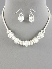 "rope necklace glass bead metal hook earring set 16"" Fashion Costume jewelry bib"