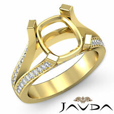 Yellow Gold Cushion Semi Mount 0.45Ct Diamond Engagement Pave Setting Ring 18k