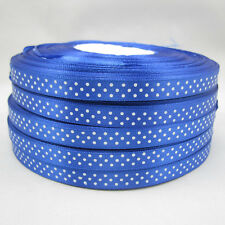 Free shipping Bulk 100 Yards 3/8 9mm Polka Dot Ribbon Satin Craft Supplies Blue