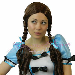 Braided Wig Long Brown Pigtail Dorothy Oz Plaited School Girl Fancy Dress Women