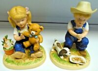 Home Interior Homco Denim Days Figurines Girl W/ Bear & Boy W/ Dog #1504