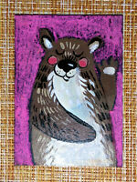 ACEO original pastel painting outsider folk art brut #010494 surreal bear