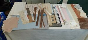 Large Lot of Vintage Miniature Victorian Dollhouse Wallpaper, Rug, & Flooring.