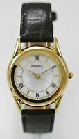 Fossil Watch Mens Black Leather Stainless Steel Gold 30m Water Res White Quartz
