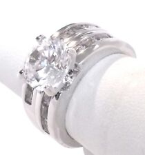 Wedding Ring Set Bridal Engagement Stainless Steel Rhodium 6.00 Ct CZ Size 6 I10