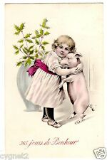 POSTCARD NEW YEAR GIRL HUGS PIG 1909 VIENNE OR SAME STYLE