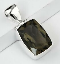 FACETED SMOKY QUARTZ STONE 925 STERLING SILVER DROP NECKLACE PENDANT SIZE 1 3/8""