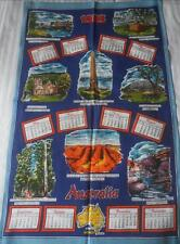VINTAGE 1983 PURE COTTON CALENDAR TEA TOWEL AUSTRALIA PLACES OF INTEREST