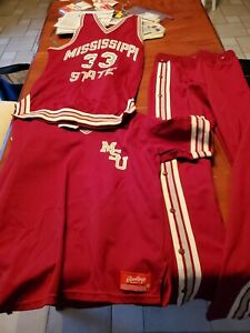 Vintage Mississippi State Bulldogs Basketball  jersey, warm up jacket and pants