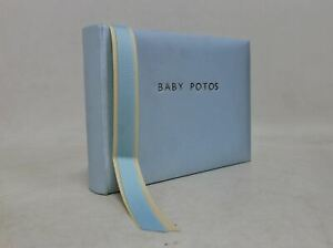 ASPINAL OF LONDON Blue Satin Bound Small Landscape Baby Photo Album Embossed NEW