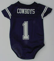 NWT DALLAS COWBOYS #1 Baby Jersey Onepiece Creeper Newborn Infant Sz 3 6 9 12 Mo