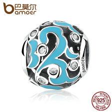 Bamoer European 925 Sterling Silver Charm Blue Summer Cloud with cz fit Bracelet