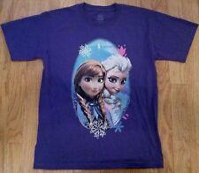 FROZEN Cute Elsa Anna Lovely Girls T Shirt Purple Size YOUTH LARGE 10 12