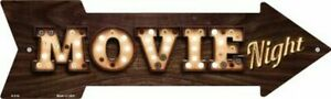 """Movie Night Bulb Letters Novelty Metal Arrow Sign 17"""" x 5"""" Wall Decor - DS"""