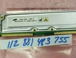 512MB  RDRAM Rambus Rimm PC1066-32 1066-32P Non-Ecc Unbuffered 32x8  DUAL RANK