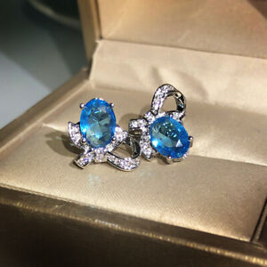 4Ct Oval Cut Blue Topaz Solitaire Push Back Stud Earrings 14K White Gold Finish