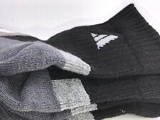 Men's ADIDAS Gray Cushioned Athletic Quarter Crew Socks - 6 PACK - $36 MSRP