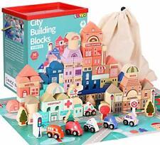 Lewo Bausteine Stadtplan Bauset Holz Spielzeug Kinder Toy  B-WARE unvollständig