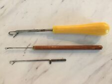 Vintage Lot of 3 Punch Needle Wool Rug Tools Rug Making Tools Latch Hook