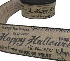 "5 Yds Happy Halloween Trick or Tream Boo Jute Burlap Like Wired Ribbon 2 1/2""W"