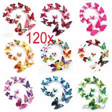120pcs 3D Butterfly Sticker Art Design Decal Wall Decals Kids Home Decor Magnet