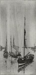 BOATS IN HARBOUR Original Etching - 20TH CENTURY - SEASCAPE