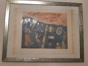 Litografia acquerello originale Gentilini Franco certificata BAGNANTI