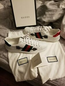 Gucci White Leather Embroidered Men Shoes Sneakers size 13 US