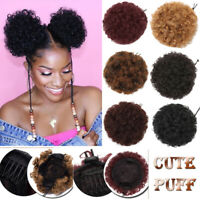 US Afro Bun Ponytail Kinky Curly Puff Drawstring as human Hair Extensions Updo J