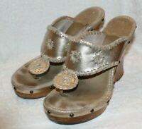 Jack Rogers Marbella Platinum Gold Leather Wedges- Sandals Size 6M