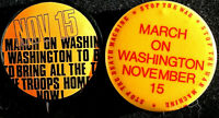 2 BRING THE TROOPS HOM ANTI WAR IN VIETNAM2ND PEACE MARCH  -  BUTTON EARLY RARE
