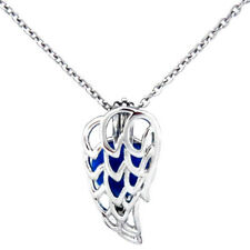 K483 Silver 24mm Fairytale Angel Wing Copper Beads Cage Stainless Necklace 18""