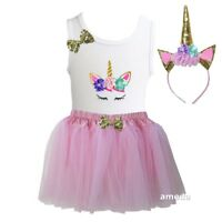 Girls Pink Tulle Tutu & 1st - 8th Birthday Unicorn Shirt Outfit Dress & Headband