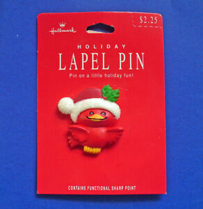 Hallmark PIN Christmas Vintage CARDINAL Bird Santa Hat Holly Holiday Brooch NEW