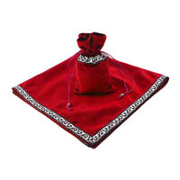 Sparkle Tarot Cards Drawstring Bag Velvet Table Cloth Divination Red
