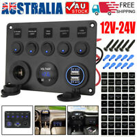 5 Gang 12V Switch Panel Control USB Charger ON-OFF Toggle for Truck Marine Boat