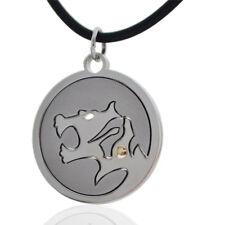 Ciondolo zodiaco cinese TIGRE in acciaio liscio satinato con borchia in oro 18kt