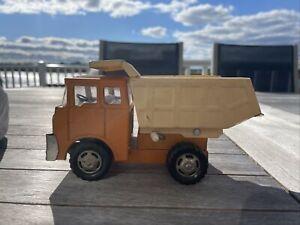 "Vintage Marx Pressed Steel Orange & Yellow Bed 6"" Dumptruck Construction Vehicle"